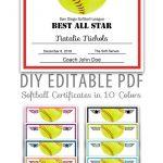 Editable Pdf Sports Team Softball Certificate Award Template   Etsy   Free Printable Softball Award Certificates