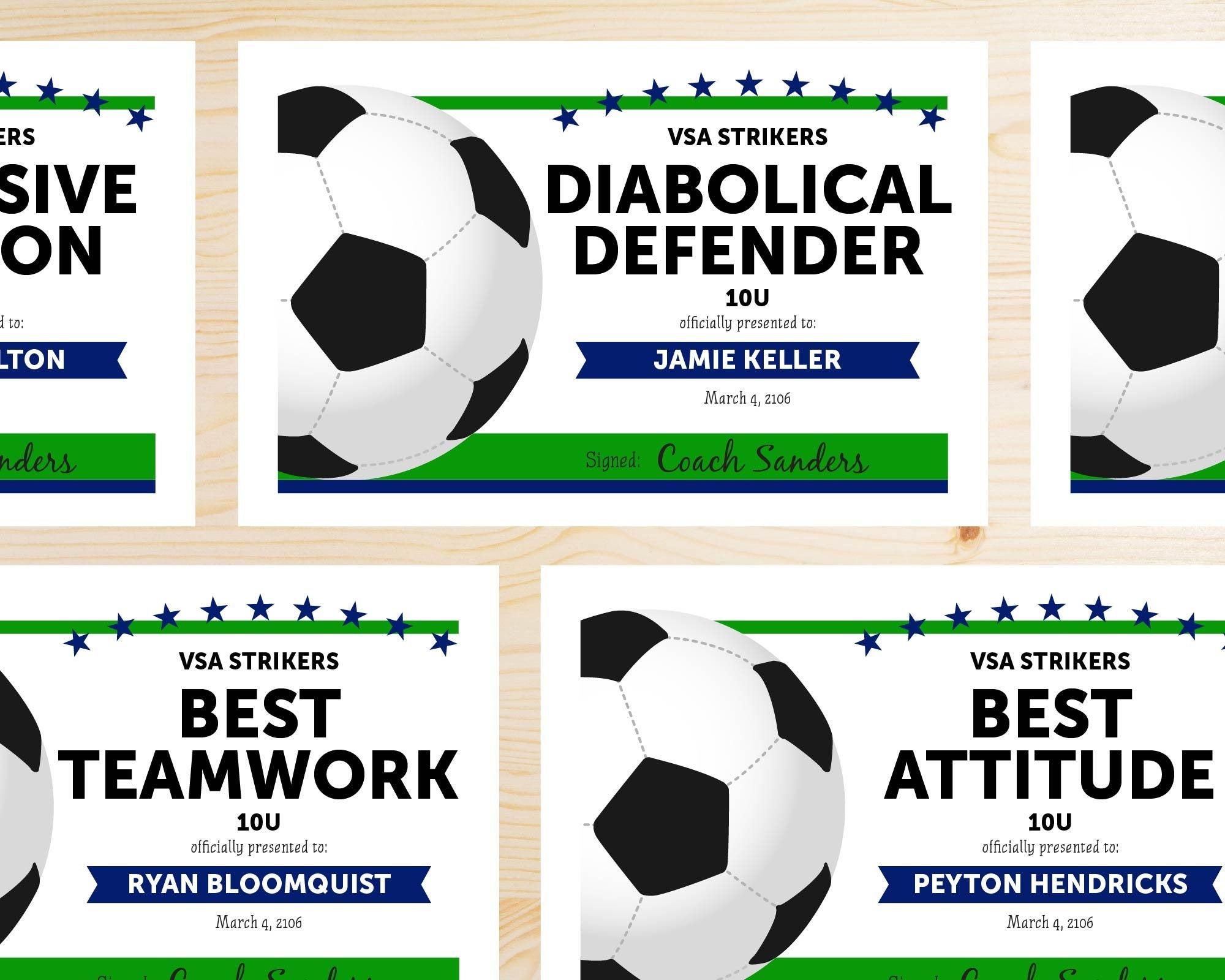 Editable Soccer Award Certificates Instant Download | Etsy - Free Soccer Award Certificates Printable