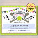 Editable Softball Certificates Instant Download Softball   Etsy   Free Printable Softball Award Certificates