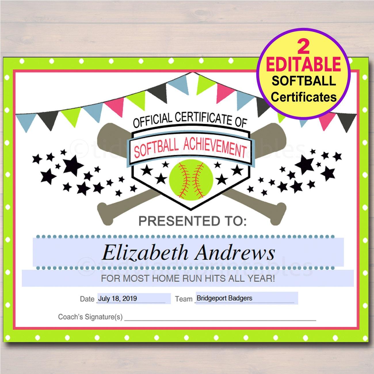 Editable Softball Certificates Instant Download Softball | Etsy - Free Printable Softball Award Certificates