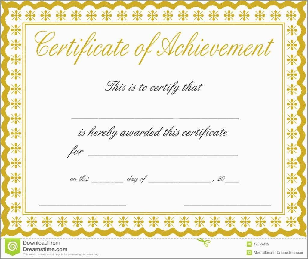 Elegant Certificate Of Achievement Template Free | Best Of Template - Free Printable Blank Certificates Of Achievement