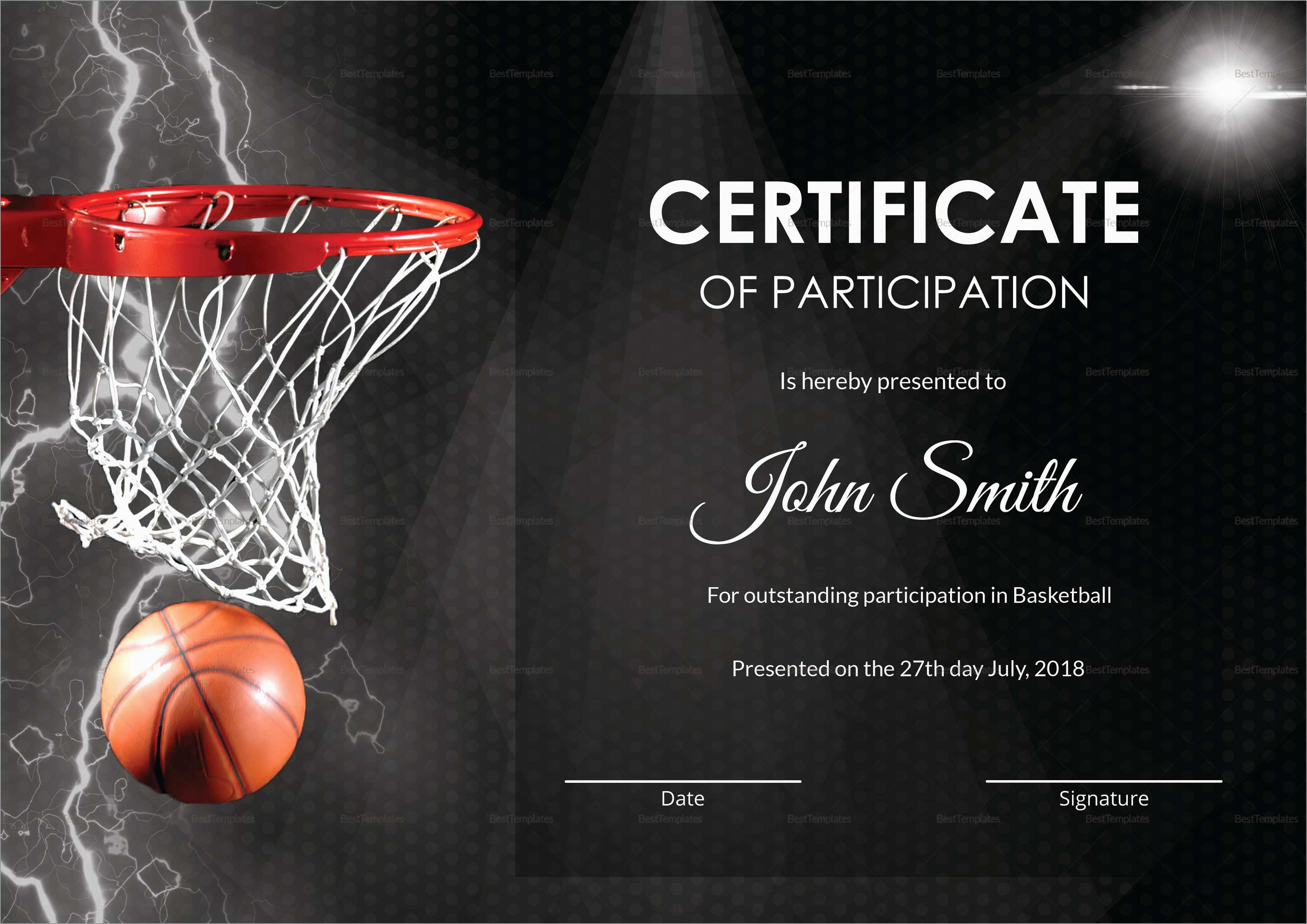 Elegant Free Basketball Website Templates | Best Of Template - Basketball Participation Certificate Free Printable