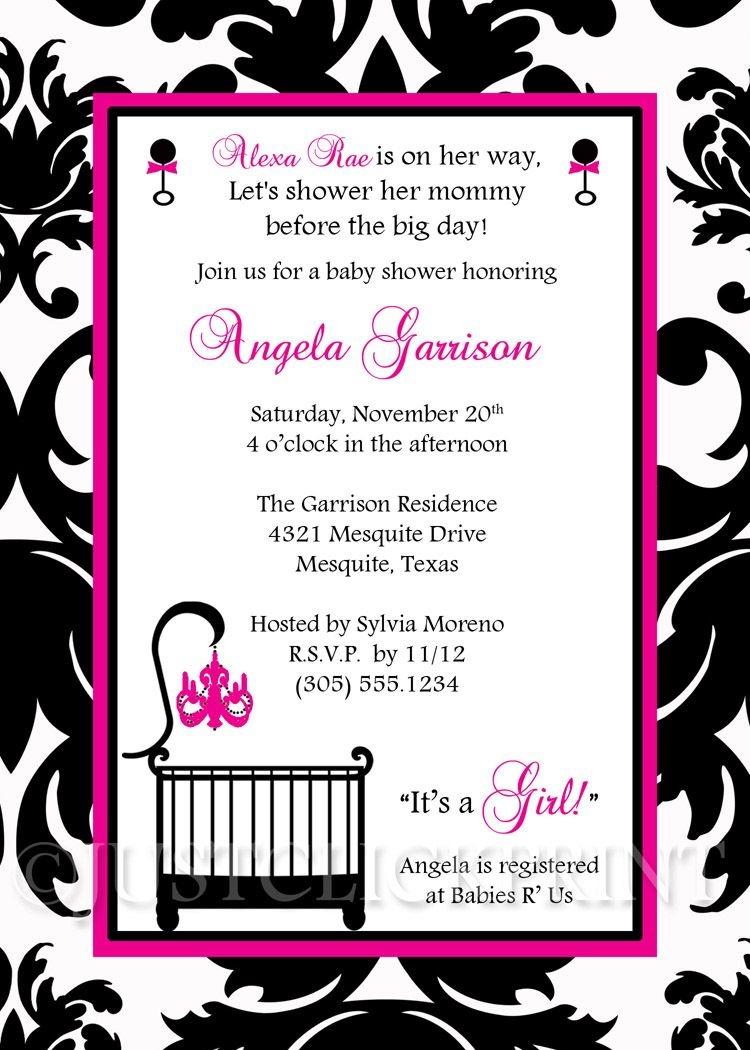 Elegant White Black Hot Pink Damask Baby Shower Invitation Printable - Free Printable Black And White Baby Shower Invitations