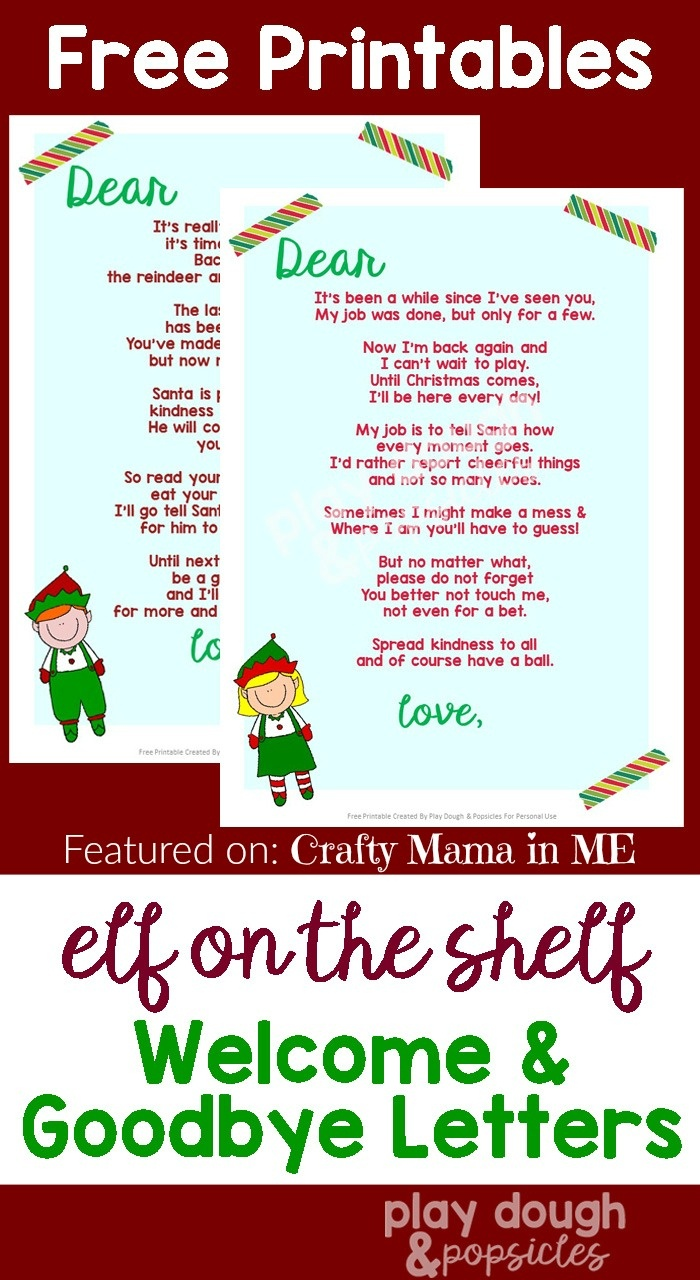 Elf On The Shelf Letters {Free Printables} - Crafty Mama In Me! - Free Printable Elf On The Shelf Story