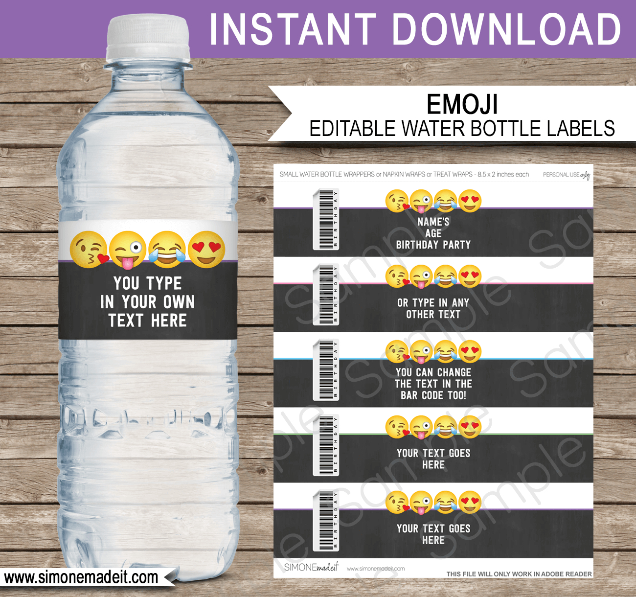 Emoji Water Bottle Labels Template | Emoji Theme Decorations - Free Printable Water Bottle Labels For Birthday