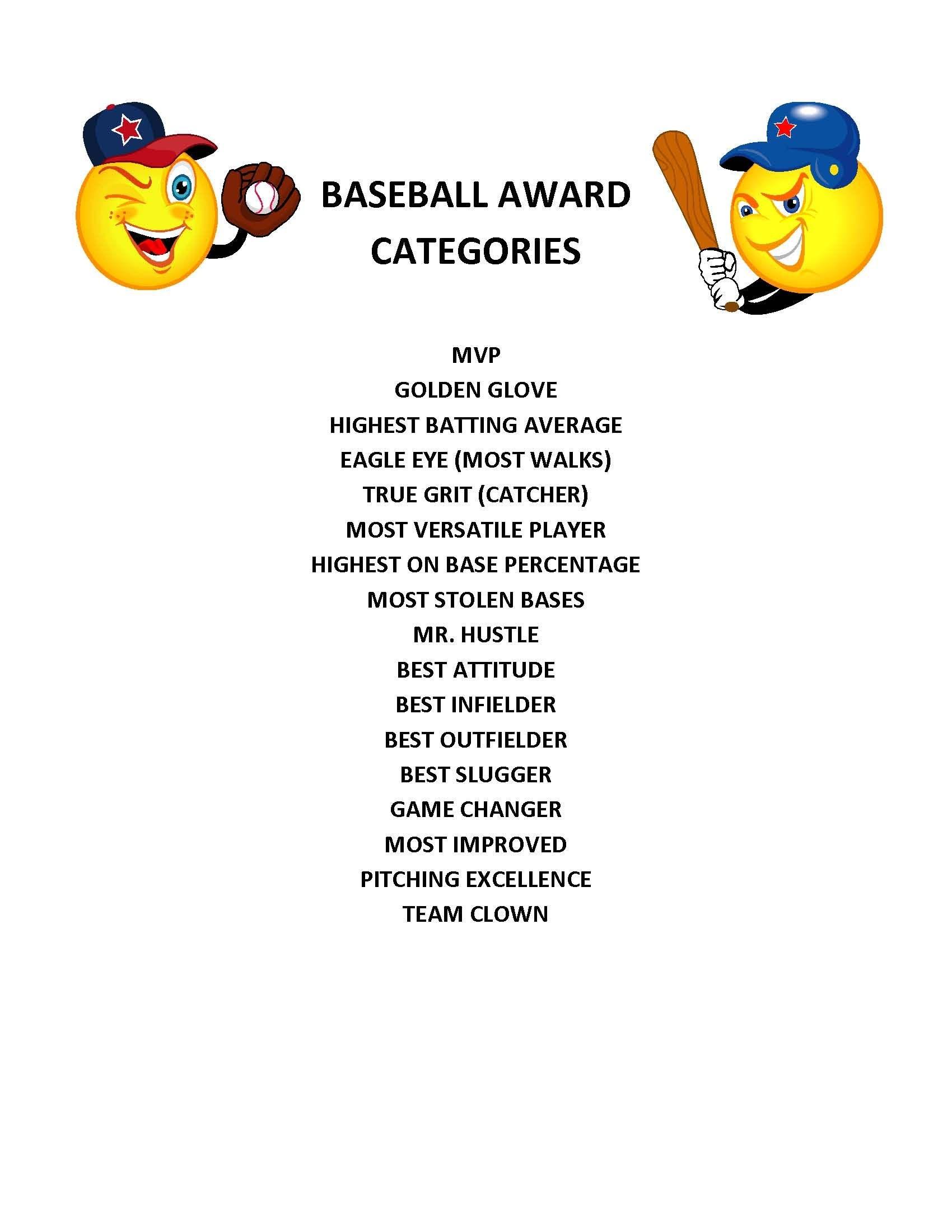 End Of Season Baseball Award Categories | Kid's Baseball Party - Free Printable Softball Award Certificates