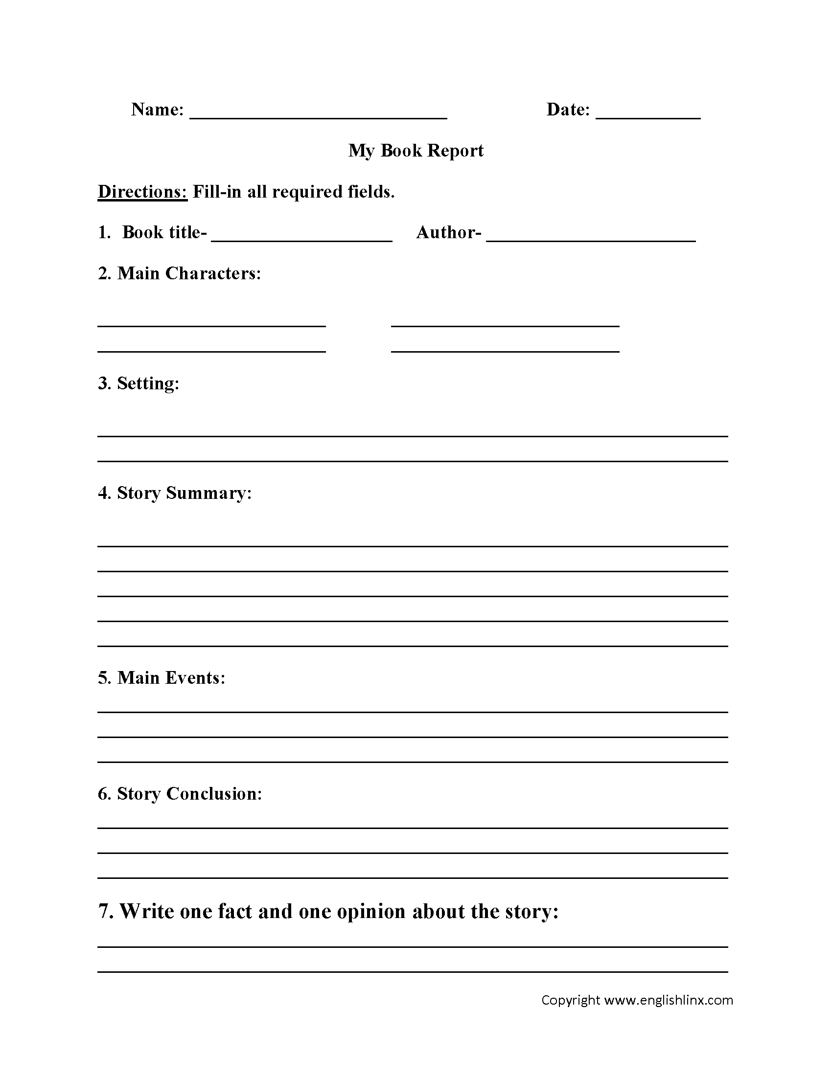 Englishlinx | Book Report Worksheets - Free Printable Story Books For Grade 2