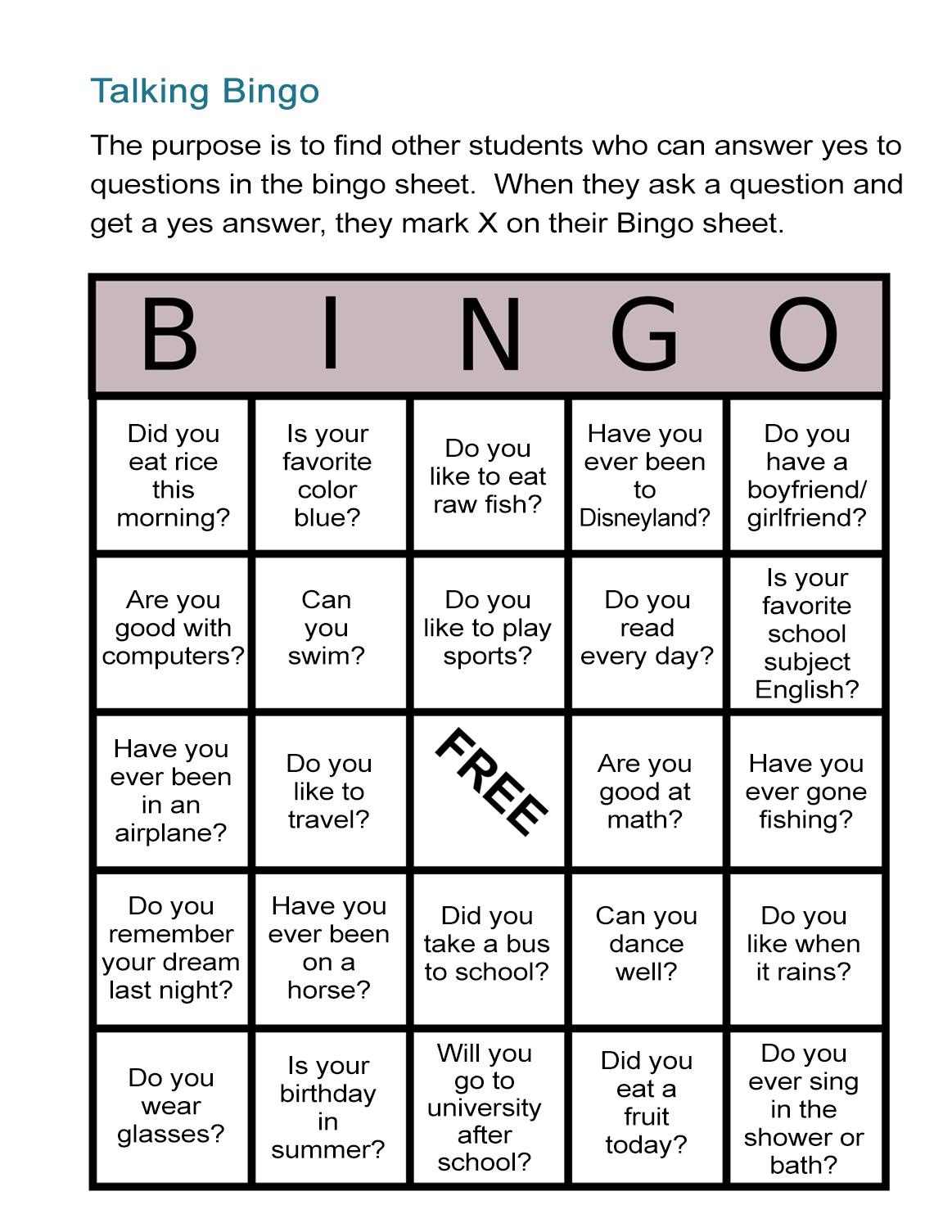 Esl Bingo Free Worksheet: Stand-Up Bingo - All Esl - Free Printable English Lessons