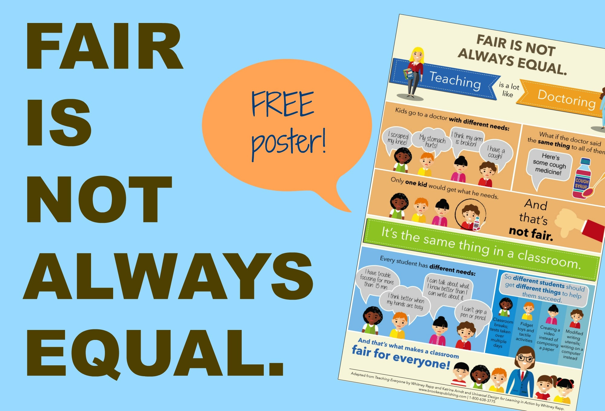 Fair Is Not Always Equal (Free Inclusion Poster!) | Inclusion Lab - Free Printable Computer Lab Posters