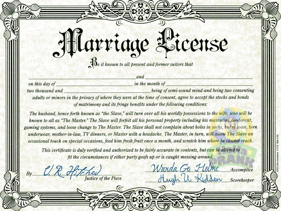 Fake Marriage Certificate | Marriage License | Marriage License - Fake Marriage Certificate Printable Free