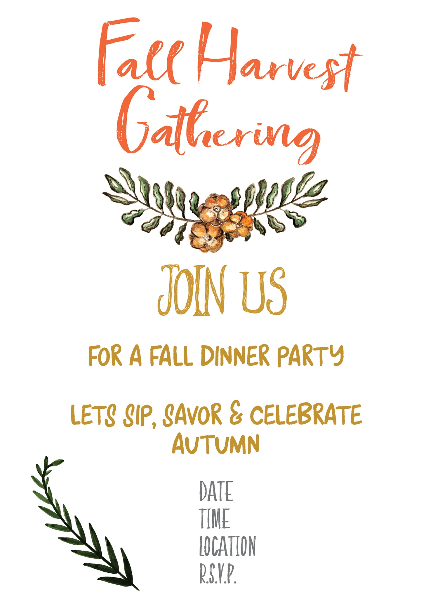 Fall Harvest Party Invitation Printable - Gather For Bread - Free Printable Event Invitations