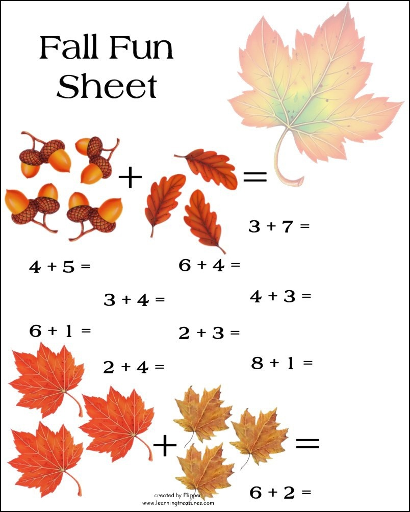 Fall Math Worksheet! - Free Printable Fall Math Worksheets