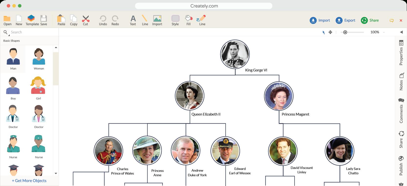Family Tree Maker | Creately Family Tree Online | Creately - Family Tree Maker Free Printable