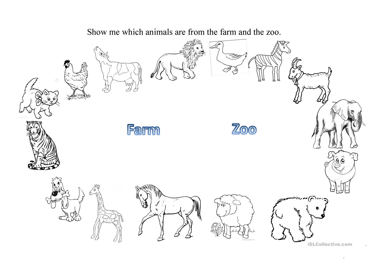 Farm And Zoo Animals Worksheet - Free Esl Printable Worksheets Made - Free Printable Zoo Worksheets