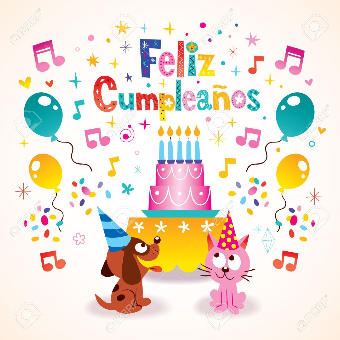 Feliz Cumpleanos - Happy Birthday In Spanish Greeting Card Royalty - Free Printable Happy Birthday Cards In Spanish