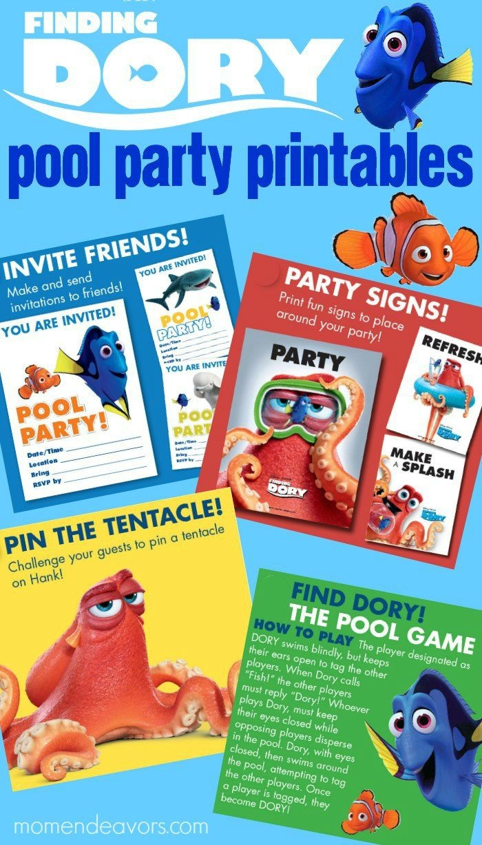 Finding Dory Pool Party Printables - This Free Printable Party Pack - Free Printable Party Signs