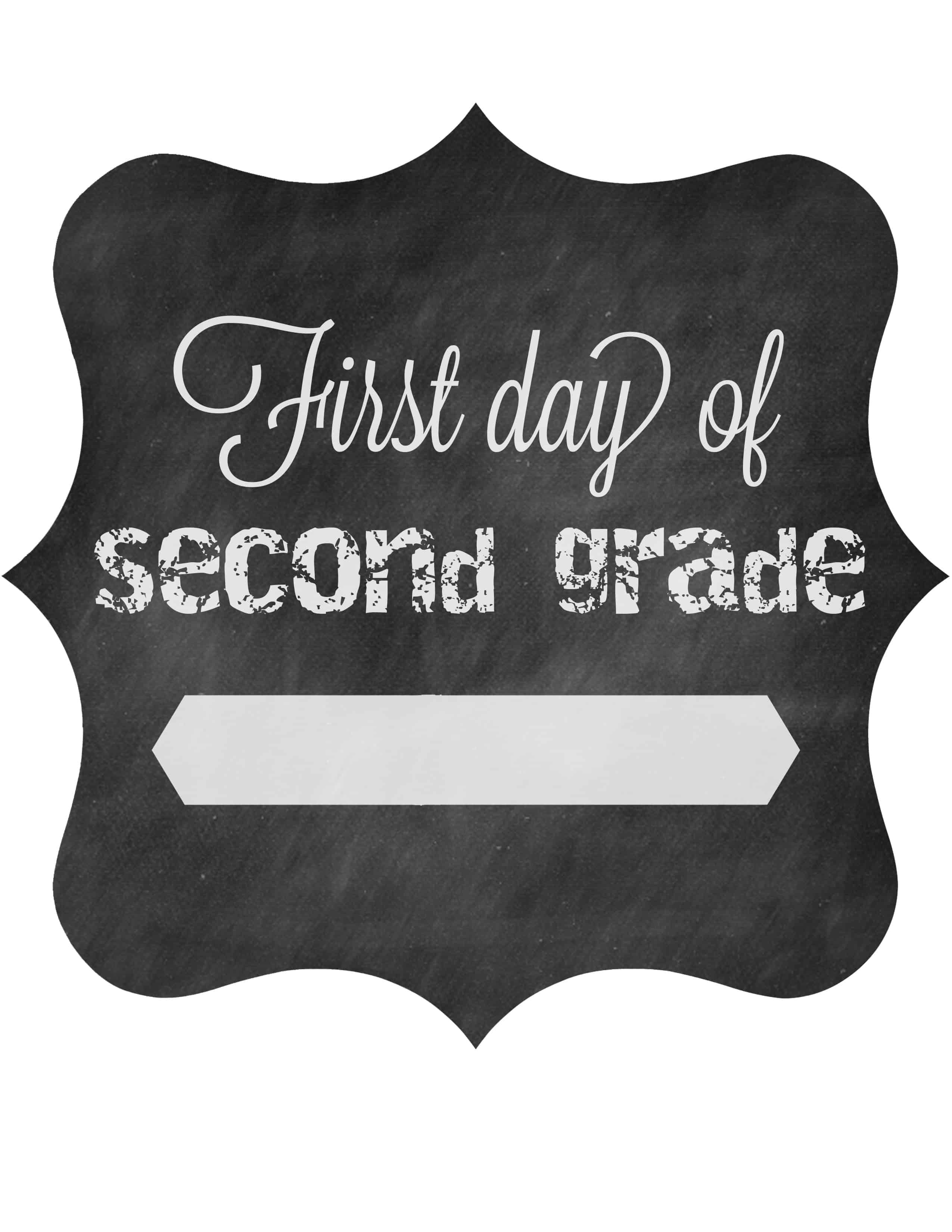 First Day Of School Free Printable Signs 2014 • The Pinning Mama - First Day Of Second Grade Free Printable Sign