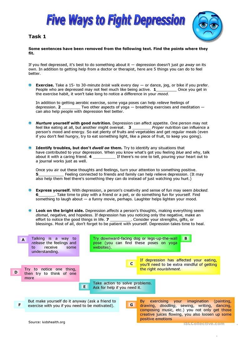 Five Ways To Fight Depression Worksheet - Free Esl Printable - Free Printable Worksheets On Depression