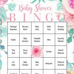 Floral Baby Bingo Cards   Printable Download   Prefilled   Spring   Free Printable Baby Registry Cards