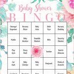 Floral Baby Bingo Cards   Printable Download   Prefilled   Spring   Free Printable Baby Registry Cards
