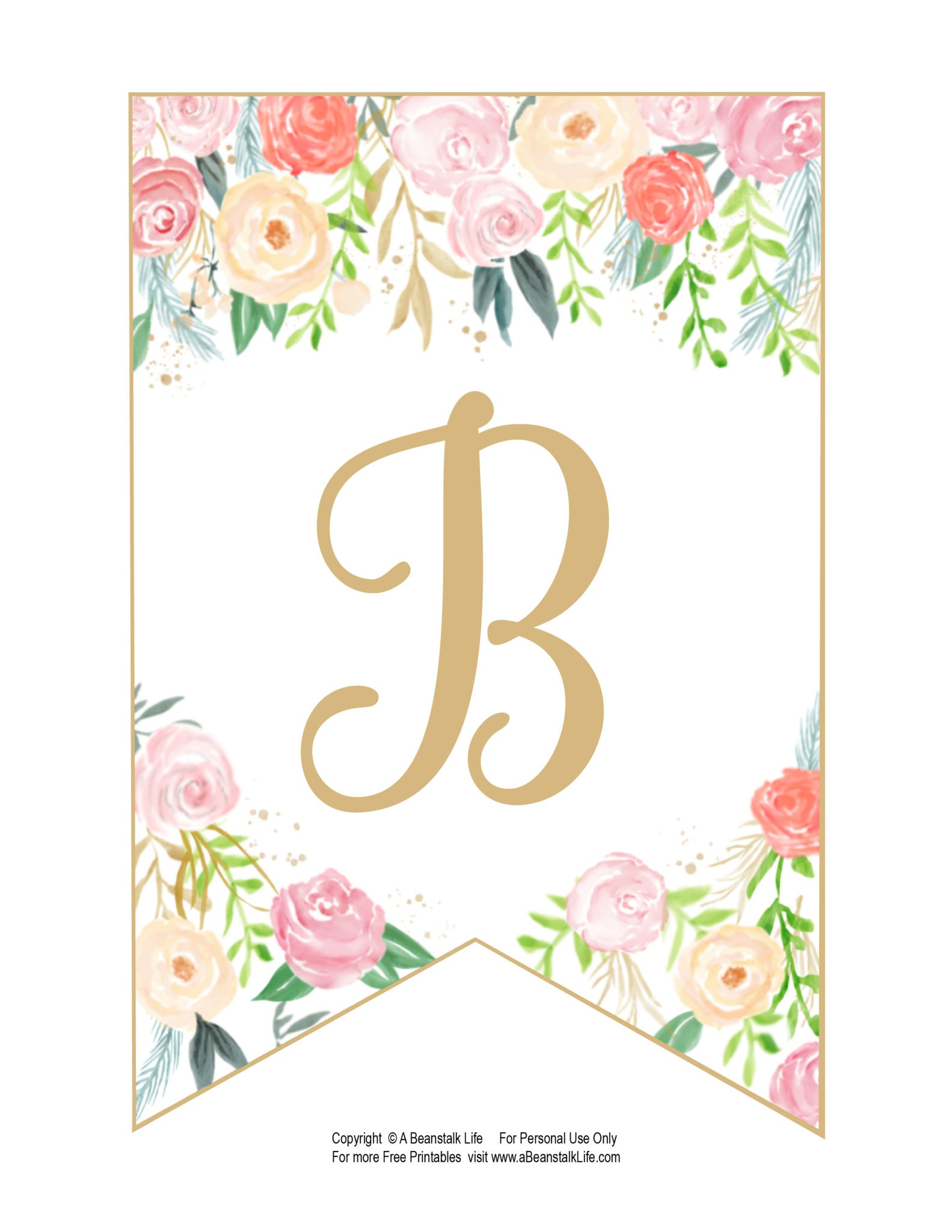 Floral Banner Printable Free Alphabet - Free Printable Flower Letters