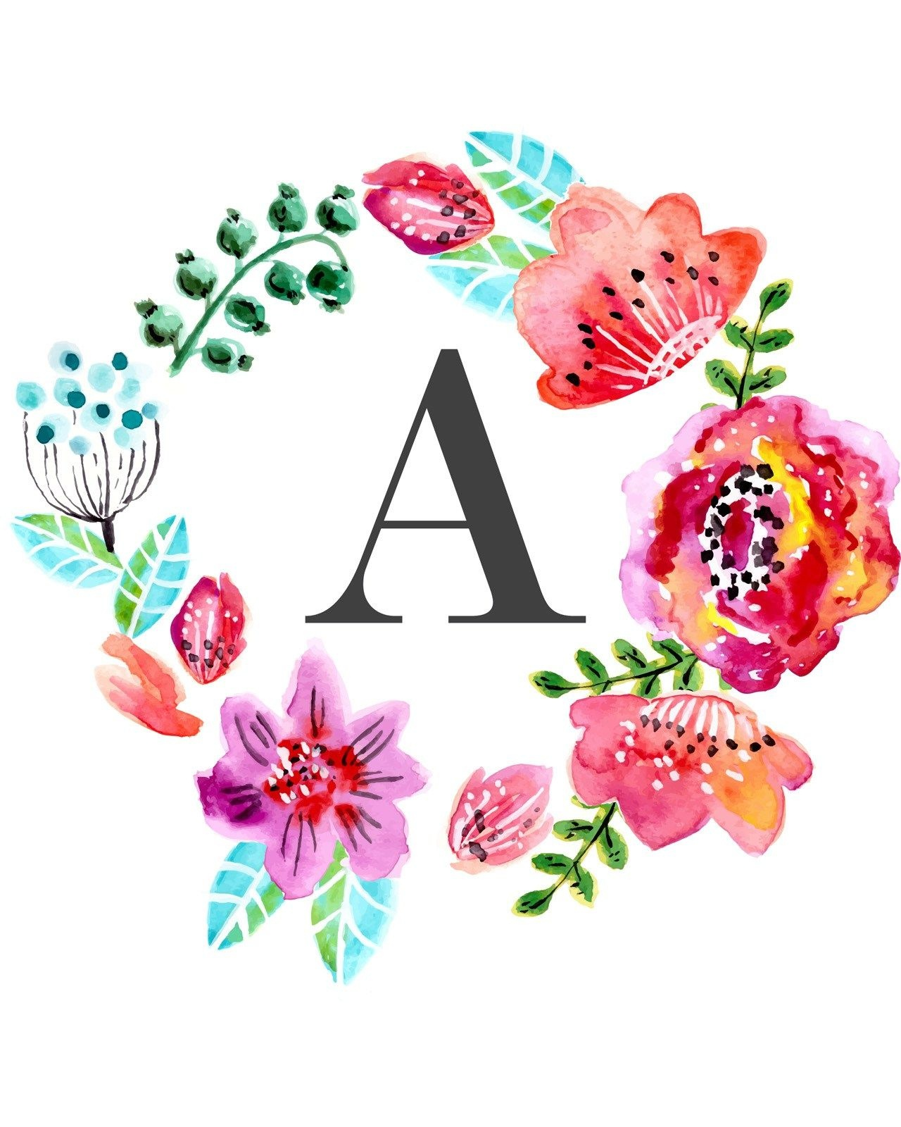 Floral Monogram Free Printable | Tags :: Letters And Numbers - Free Printable Flower Letters
