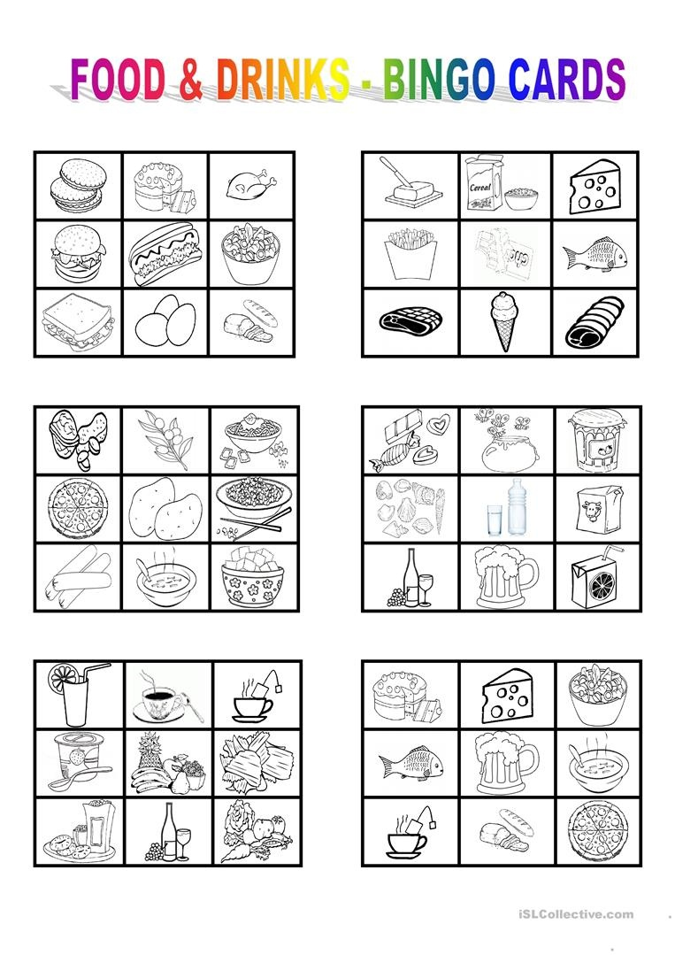 Food And Drinks - Bingo Cards Worksheet - Free Esl Printable - Free Printable Spanish Bingo Cards