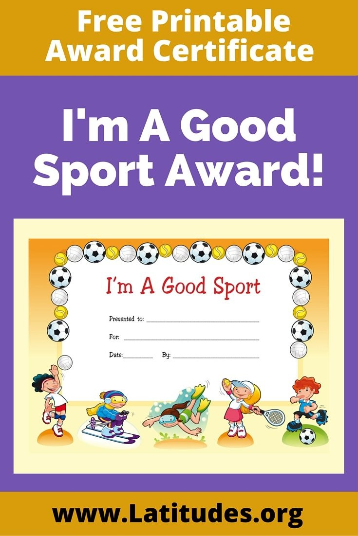 Free Award Certificate - I'm A Good Sport (Primary | Behavior Charts - Free Printable Swimming Certificates For Kids