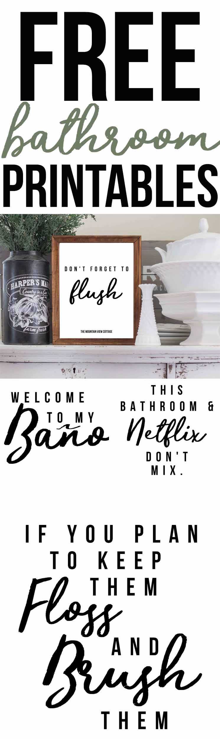Free Bathroom Printables-Farmhouse Printables - The Mountain View - Free Printable Bathroom Pictures