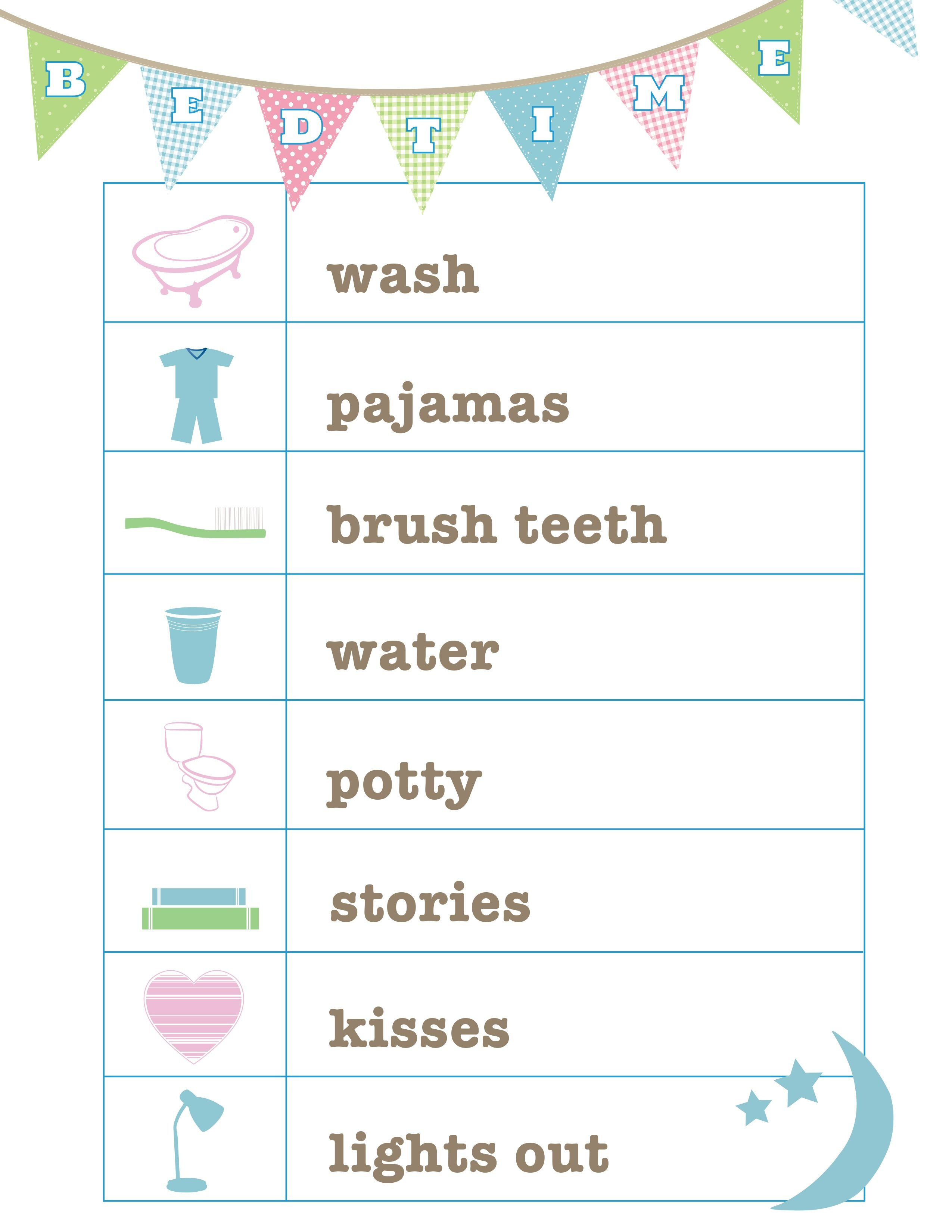 Free Bedtime Routine Printable From Love And Life Cards | Printables - Free Printable Bedtime Routine Chart
