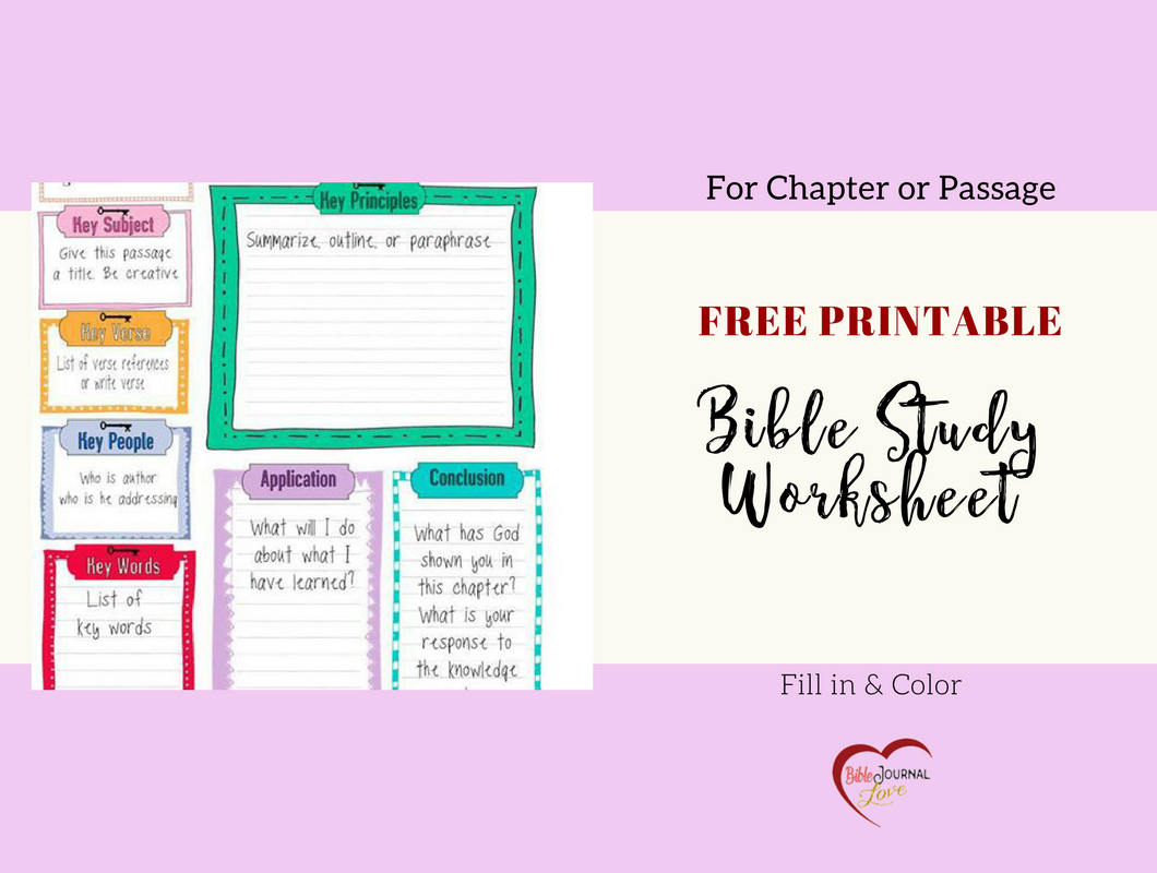 Free Bible Journal Key Worksheet – Bible Journal Love - Free Printable Bible Studies For Women