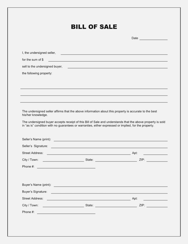 Free Bill Of Sale Template For Vehicle Of Free Vehicle Bill Sale - Free Printable Bill Of Sale Form