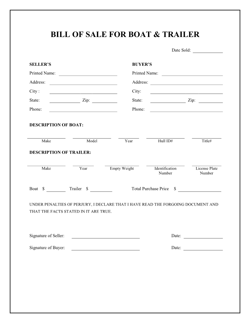 Free Boat & Trailer Bill Of Sale Form - Download Pdf | Word - Free Printable Bill Of Sale Form