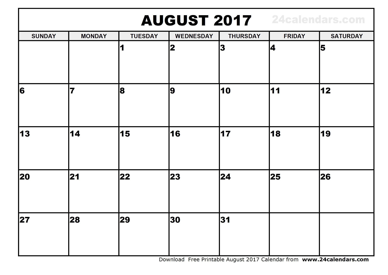 Free Calendar August 2017 | Thekpark-Hadong - Free Printable August 2017