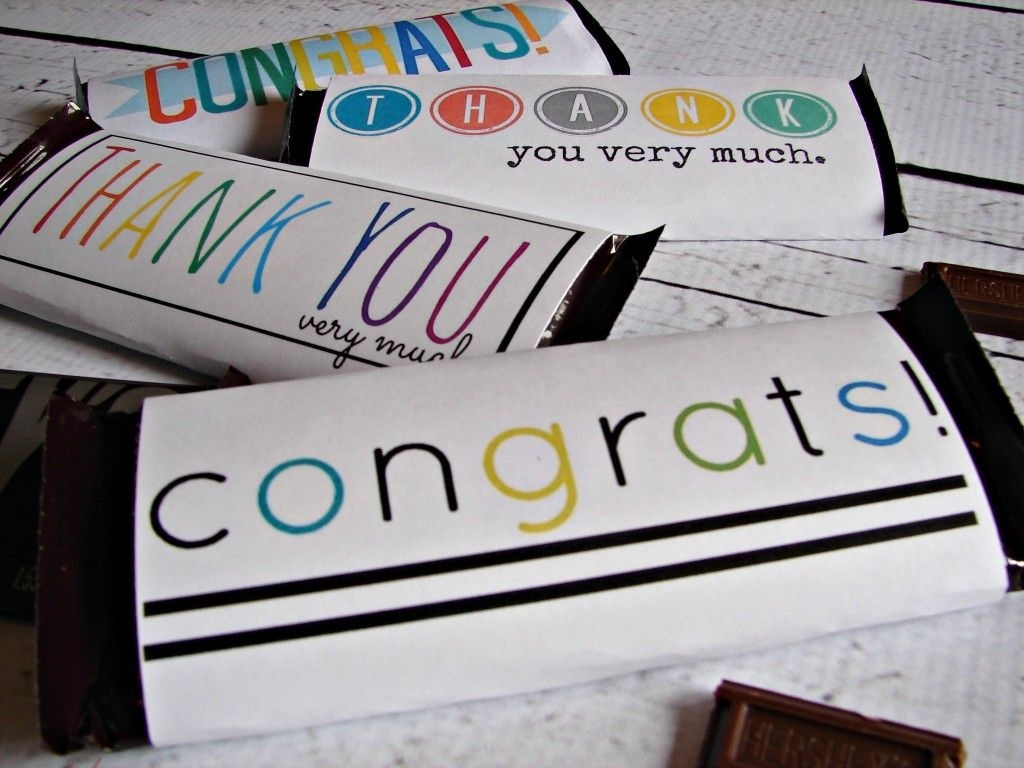 Free Candy Bar Wrapper Thank You (And Congrats) Printables! | Just - Free Candy Wrapper Printable
