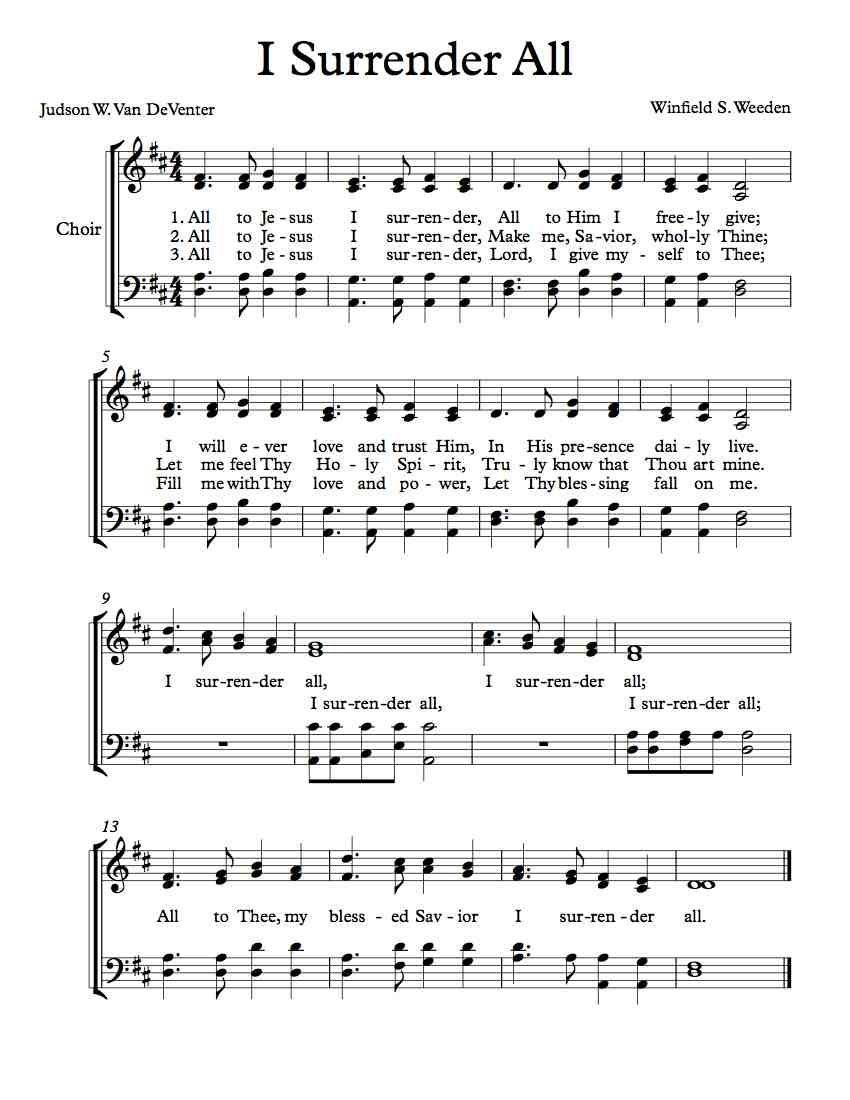 Free Choir Sheet Music – I Surrender All | Free Sheet Music - Free Printable Sheet Music Lyrics