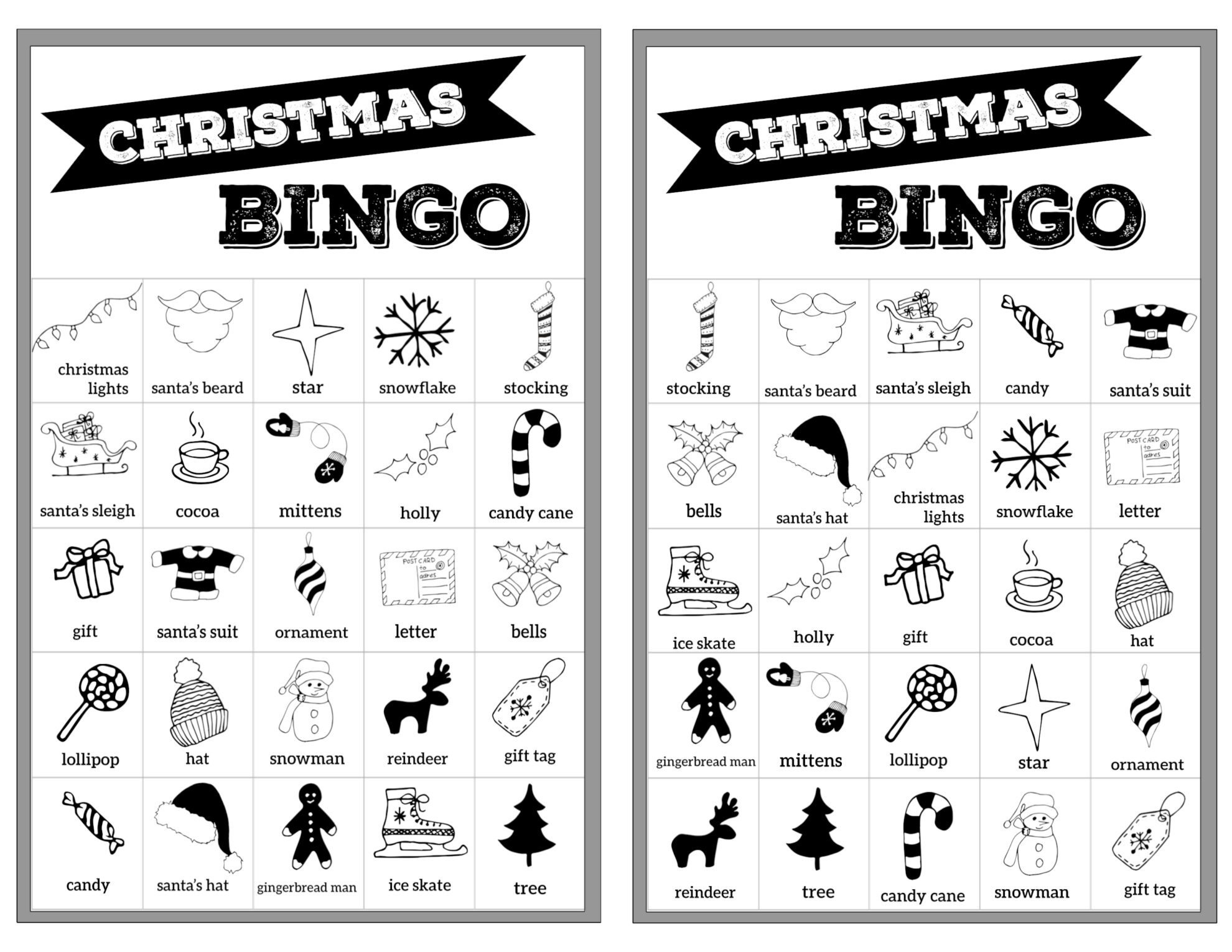 Free Christmas Bingo Printable Cards - Paper Trail Design - Free Printable Christmas Bingo Cards
