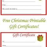 Free Christmas Printable Gift Certificates | Gift Ideas | Christmas   Free Printable Christmas Gift Cards