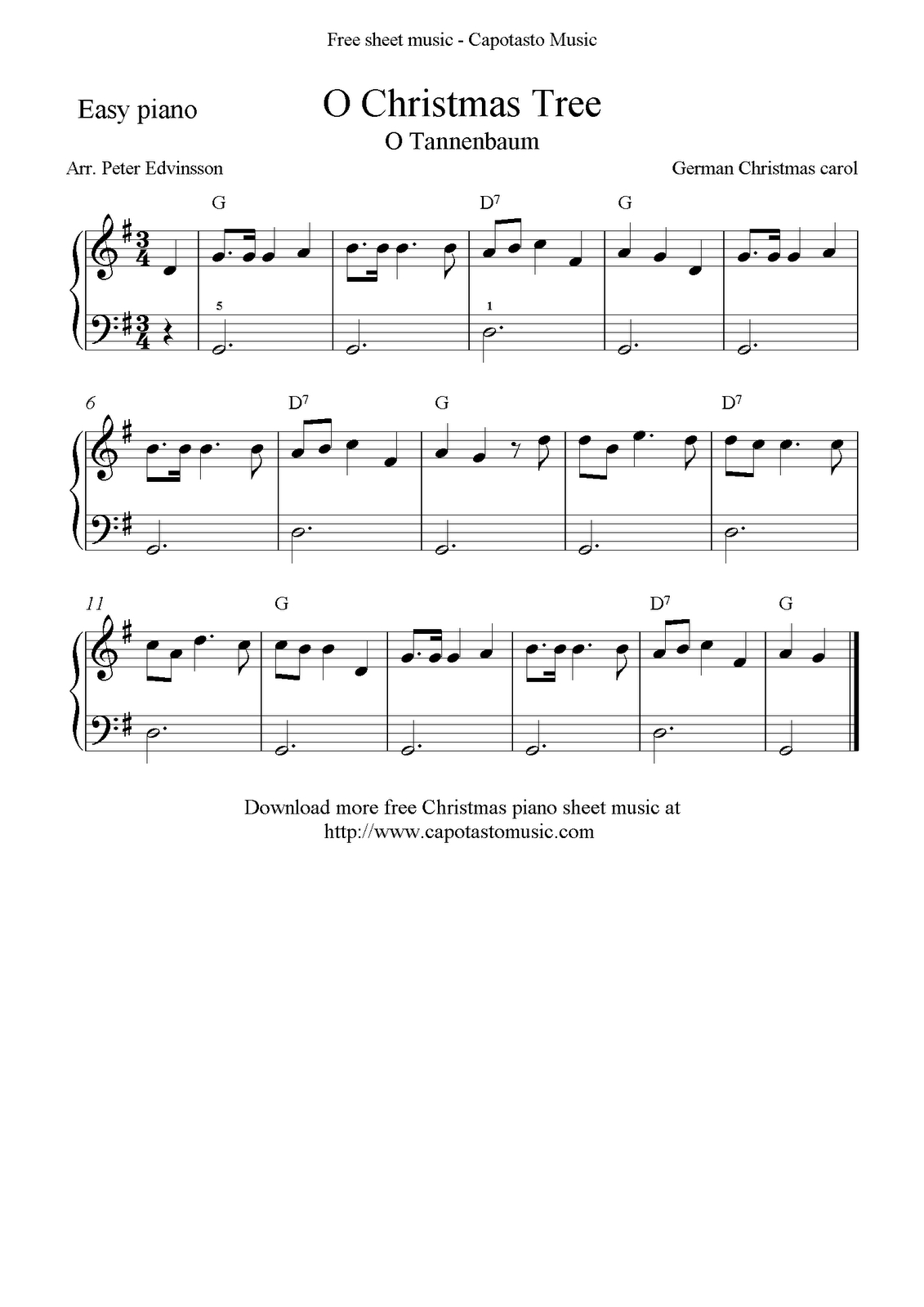 Free Christmas Sheet Music For Easy Piano Solo, O Christmas Tree - Free Printable Christmas Sheet Music For Piano