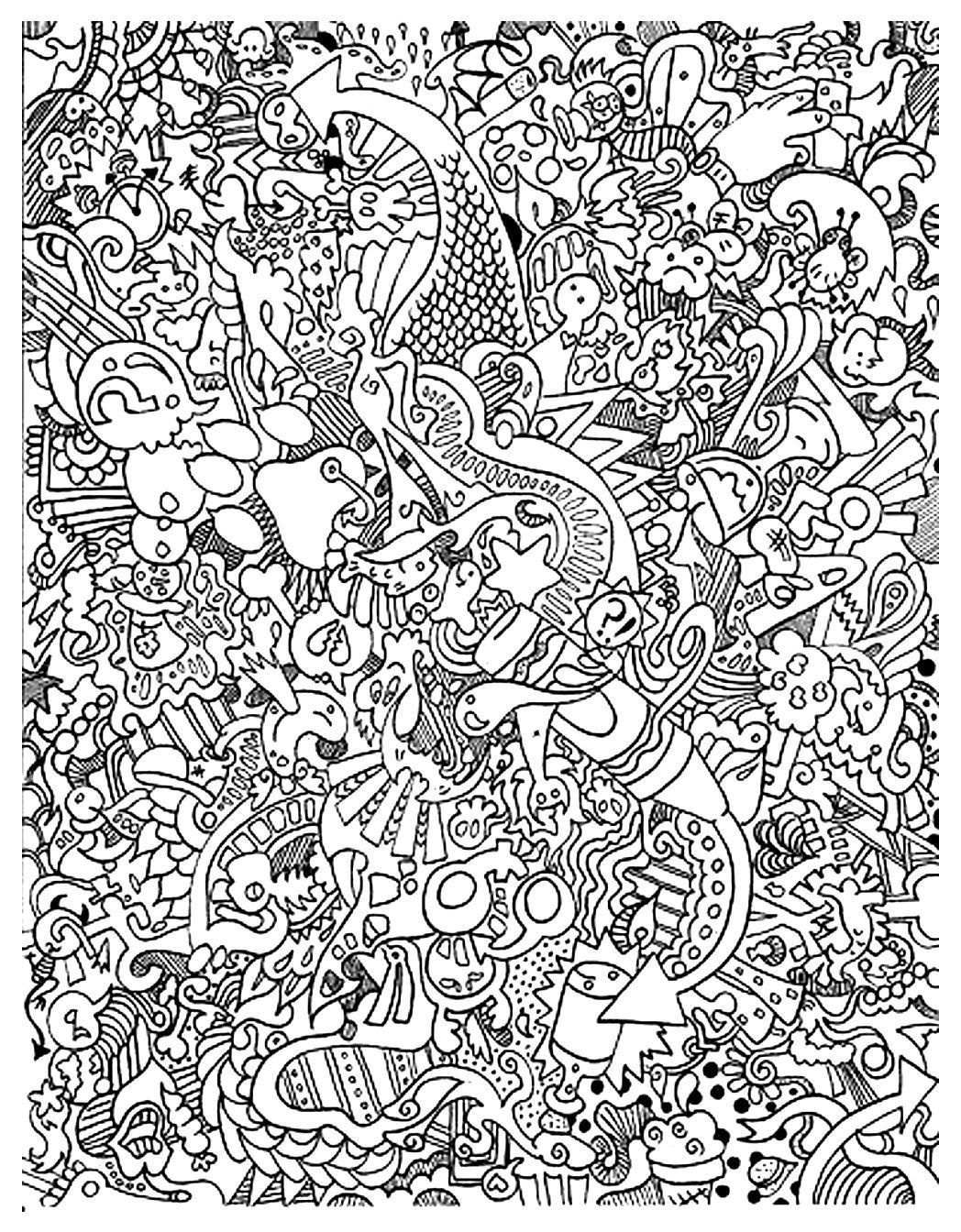 Free Coloring Page Coloring-Doodle-Art-Doodling-15. Funny Doodle Art - Free Printable Doodle Art Coloring Pages