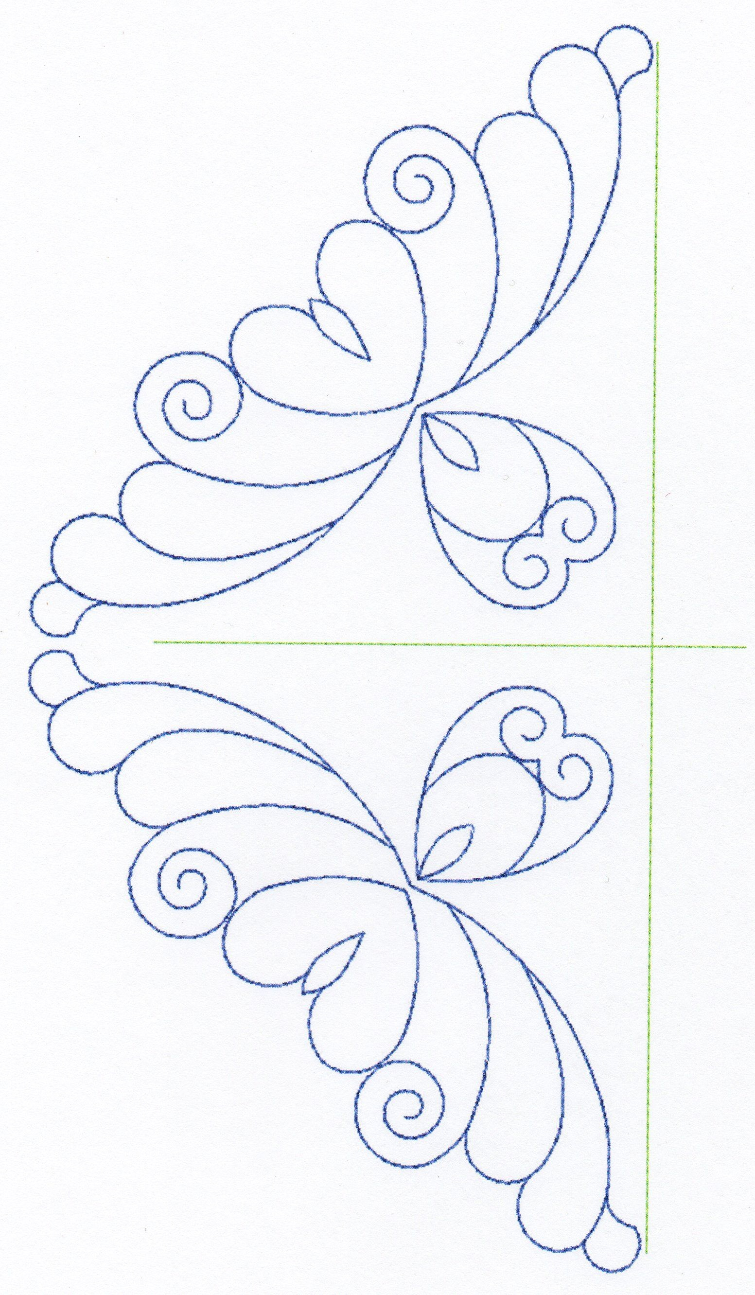 Free Continuous Machine Quilting Designs | Feather Quilting Design - Free Printable Pantograph Quilting Patterns