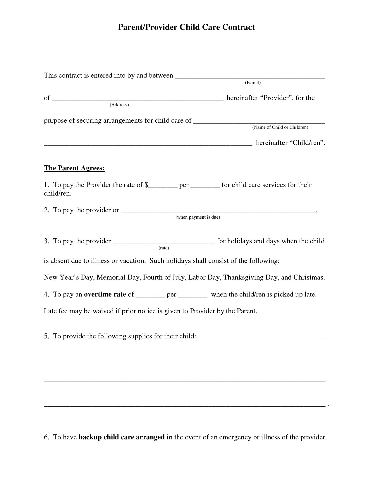 Free Daycare Contract Forms | Daycare Forms | Daycare Contract, Home - Free Printable Daycare Forms