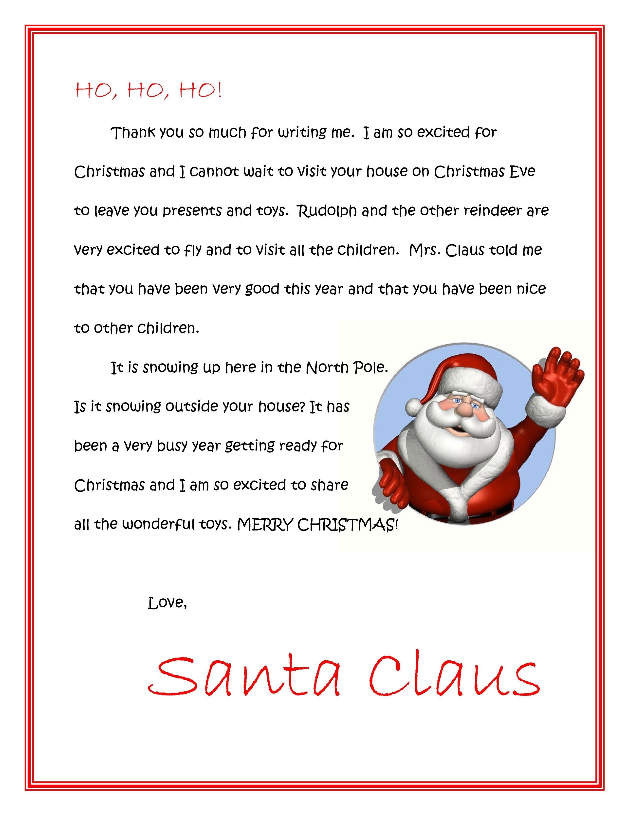 Free Dear Santa Letters Dear Santa Letters | Christmas Idea | Santa - Free Personalized Printable Letters From Santa Claus
