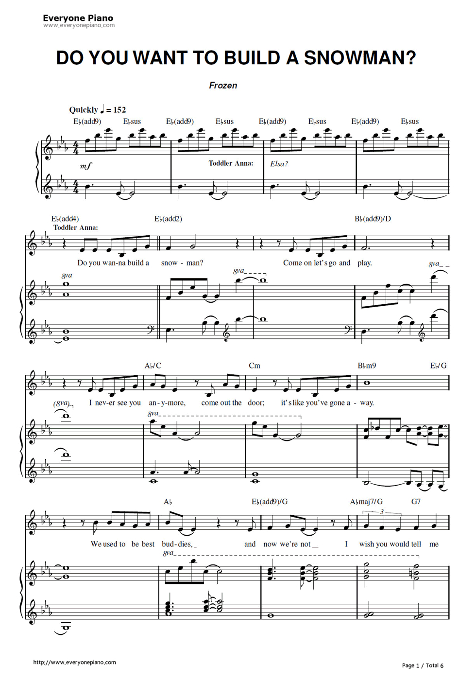 Free Do You Want To Build A Snowman-Frozen Ost Sheet Music Preview 1 - Frozen Piano Sheet Music Free Printable