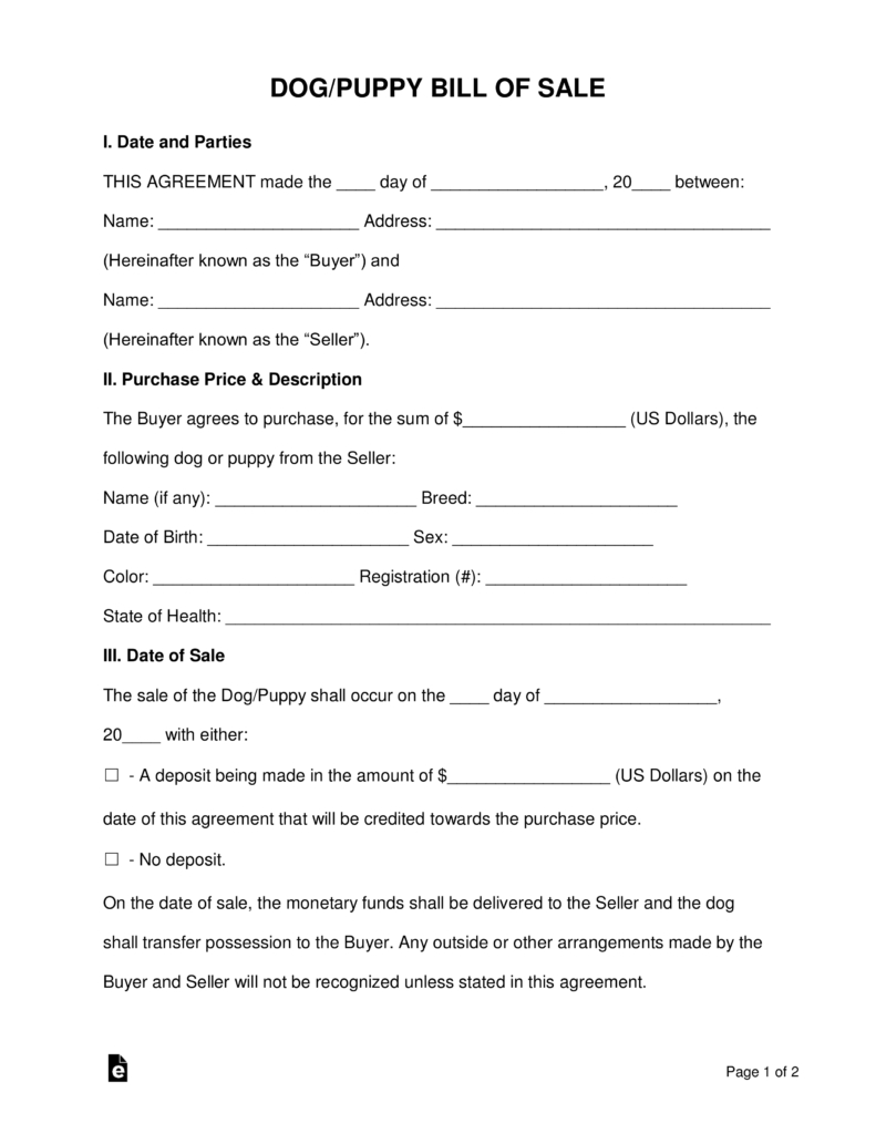 Free Dog/puppy Bill Of Sale Form - Word | Pdf | Eforms – Free - Free Printable Puppy Sales Contract