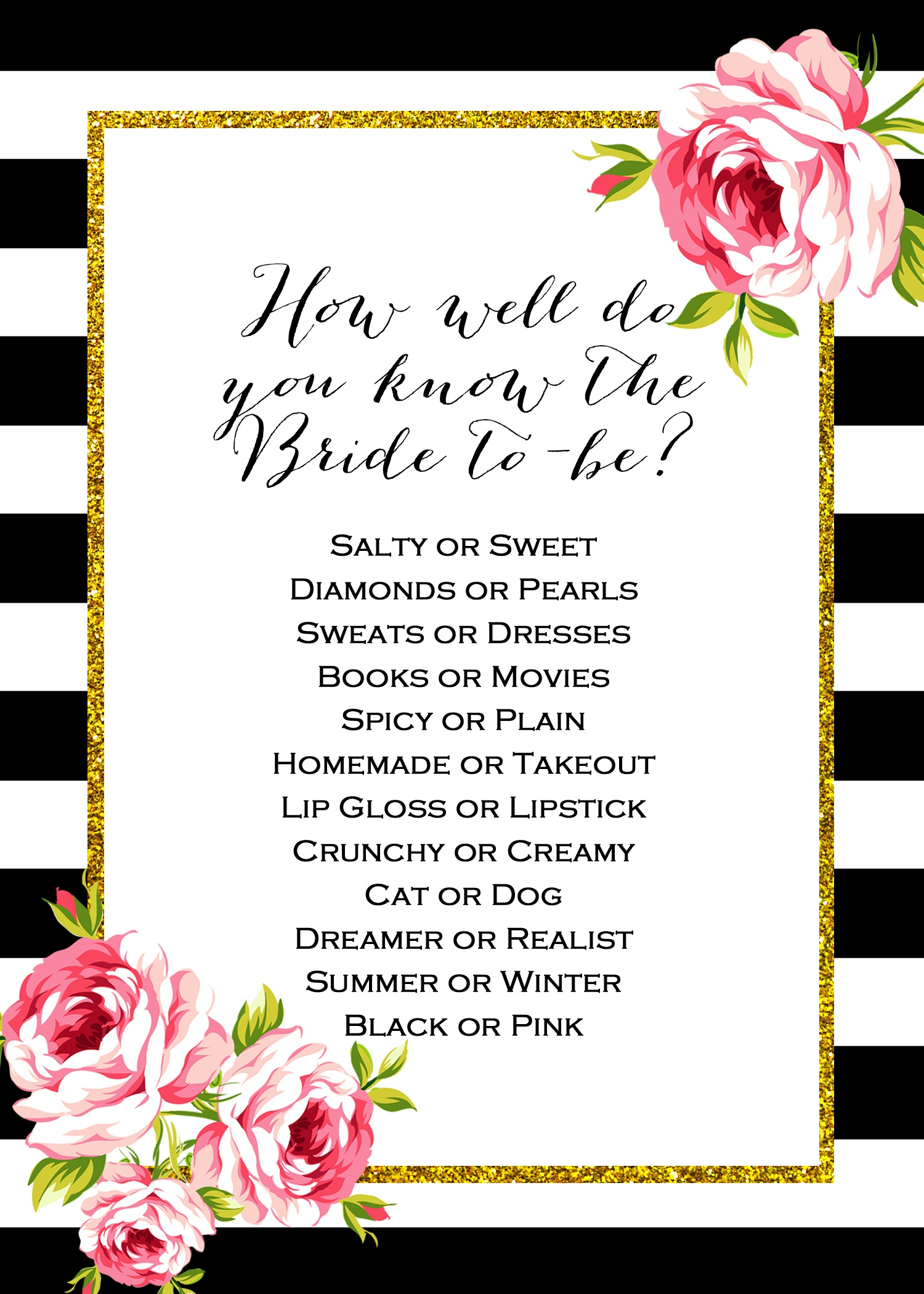Free Don't Say Wedding Game | Wedding Planning | Free Bridal Shower - How Well Does The Bride Know The Groom Free Printable