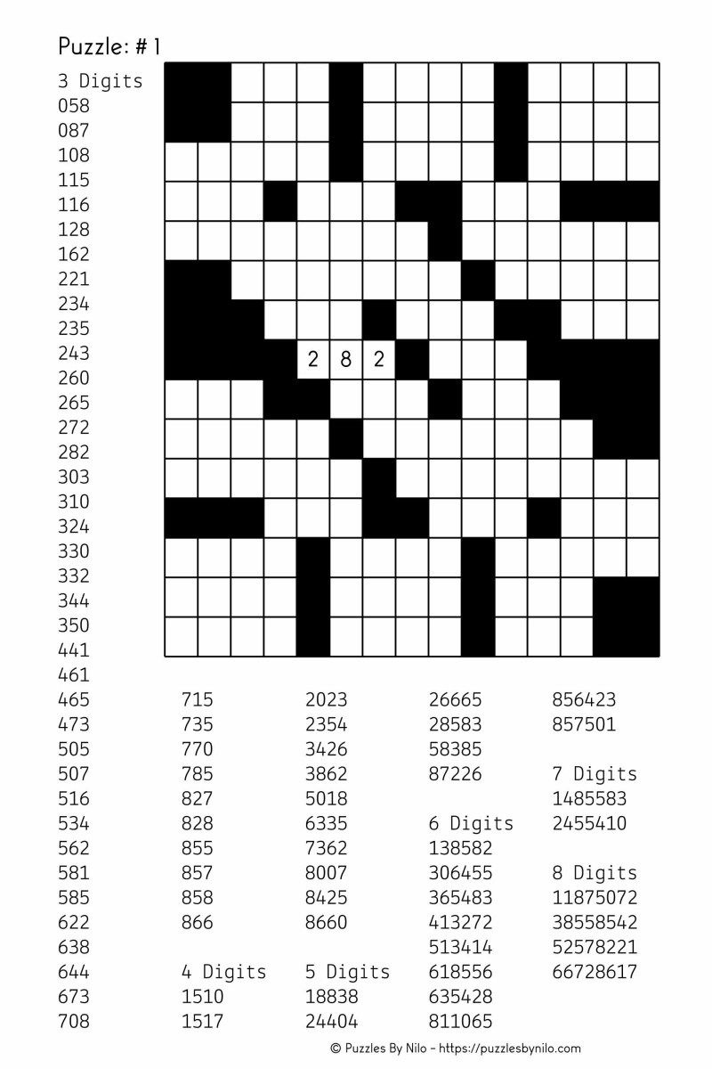 Free Downloadable Number Fill In Puzzle - # 001 - Get Yours Now - Free Printable Fill In Puzzles