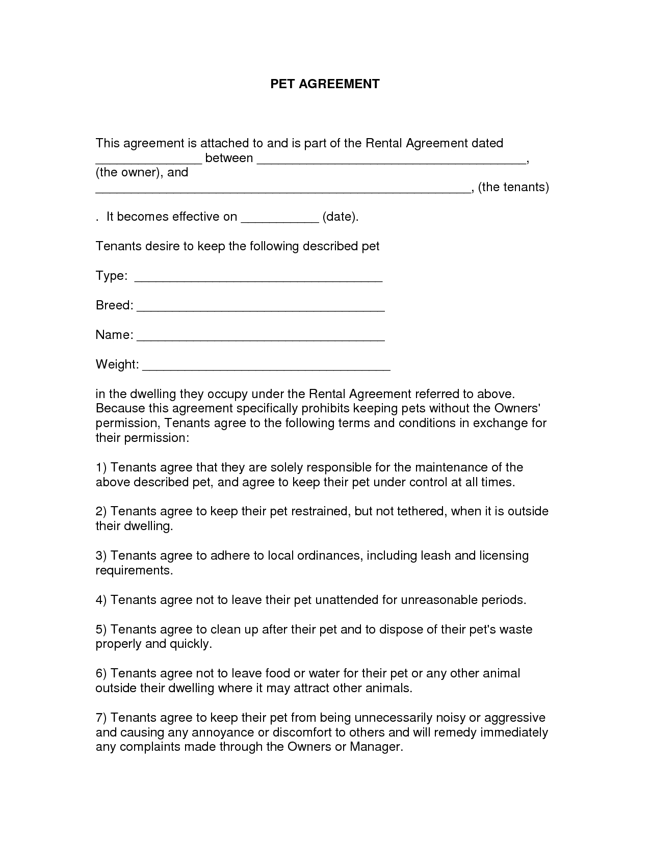 Free Easy Lease Agreement To Print | Free Printable Lease Agreement - Free Printable Pet Addendum