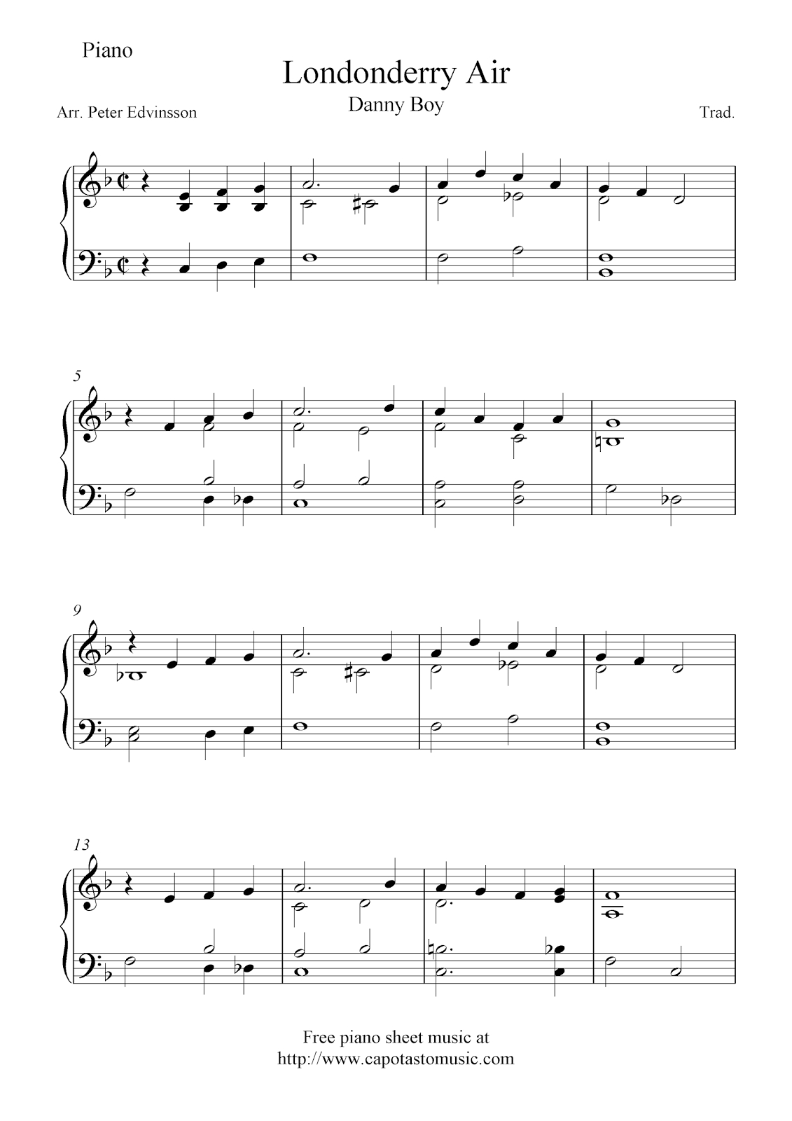 Free Easy Piano Sheet Music Arrangement Of The Melody Danny Boy - Free Printable Piano Pieces