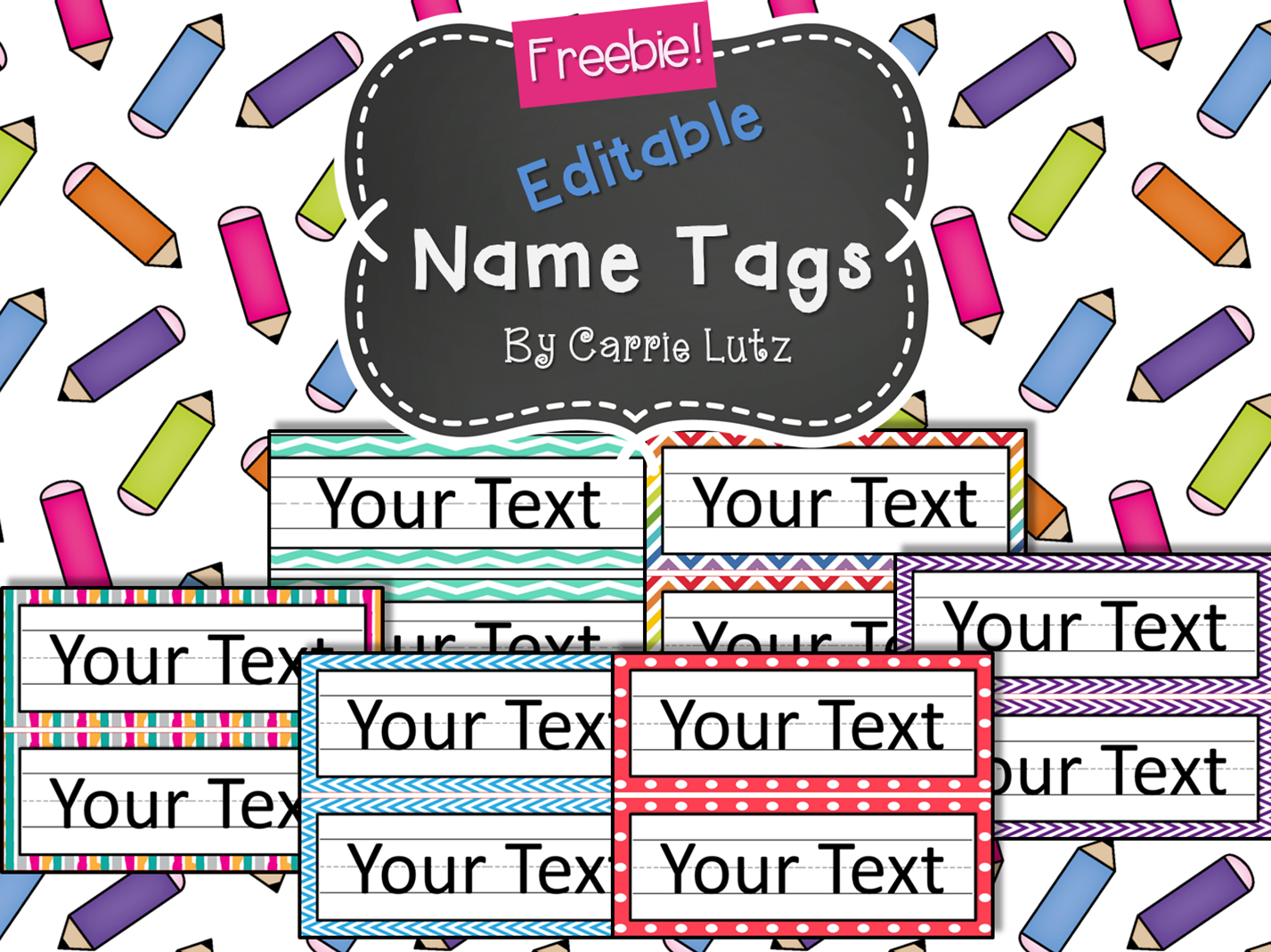 Free Editable!! Chevron, Dots Or Rainbow.simple Name Tags Type In - Free Printable Desk Name Plates For Students